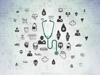 Healthcare concept: Painted green Stethoscope icon on Digital Data Paper background with  Hand Drawn Medicine Icons