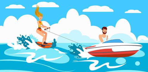 Girl riding Water Skiing. Vector Illustration.