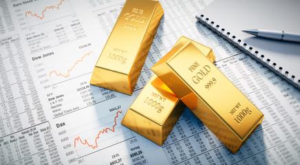 3 Goldbarren auf Börsenkursen
