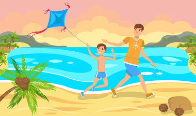 Father and Son Launch a Kite.