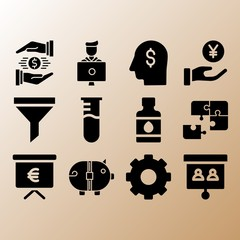 Ink bottle, head and student related premium icon set
