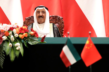 Kuwait's Emir Sheikh Sabah Al-Ahmad Al- Jaber Al-Sabah looks as he witnesses a signing ceremony with Chinese President Xi Jinping at the Great Hall of the People in Beijing