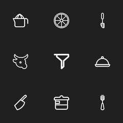 Set of 9 editable cooking icons line style. Includes symbols such as casserole, veal, squeezer and more. Can be used for web, mobile, UI and infographic design.