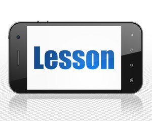 Education concept: Smartphone with blue text Lesson on display, 3D rendering