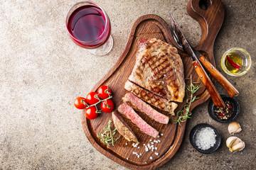Medium rare grilled steak