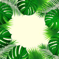Tropical palm leaves background. Exotic jungle plants card. vector tropical design. Fresh nature backdrop in a trendy style. Bright colors. Beautiful green square frame. Palm leaf, monstera texture
