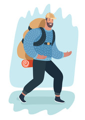Smiling hiker with backpack