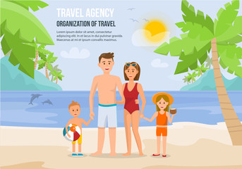 Family Vacation on Beach. Vector Illustration.