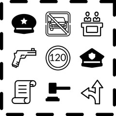 Simple 9 icon set of law related detour, speed limit, police cap and police cap vector icons. Collection Illustration