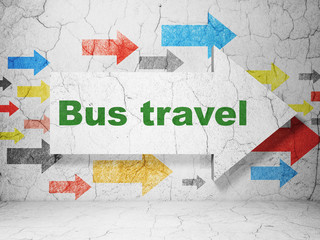 Vacation concept:  arrow with Bus Travel on grunge textured concrete wall background, 3D rendering