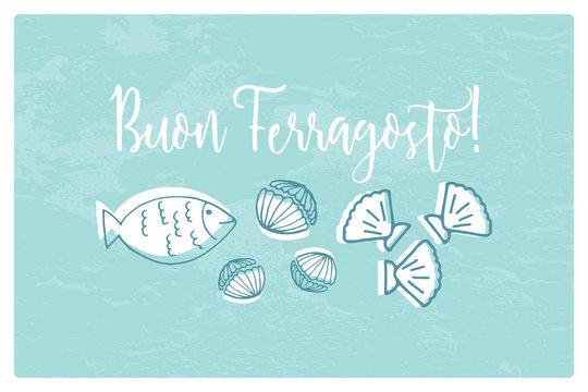 Buon Ferragosto italian summer holiday illustration with seafood doodles