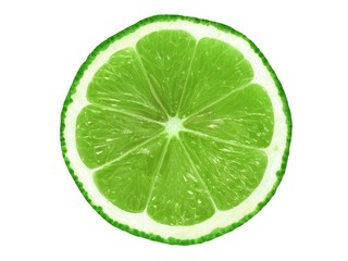 Lime slice on white