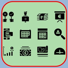 Simple 12 icon set of business related smartphone, calendar, bar chart and protractor vector icons. Collection Illustration