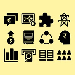 Bar chart, head and safebox related premium icon set