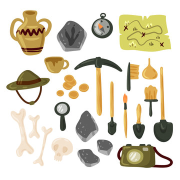 Archaeology icon set vector isolated illustration