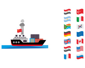 Delivery by sea from all over the world.   Illustration in a flat style. Vector graphics