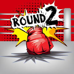 Punch boxing comic style and red corner with round:2