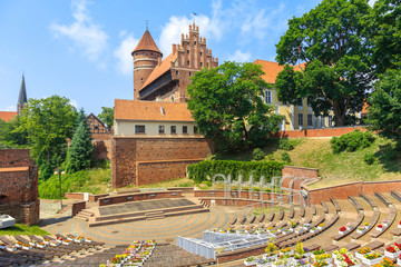Castle of Warmian Bishops in Olsztyn, north Poland,  built in the fourteenth-century in  Gothic architectural style  Fototapete