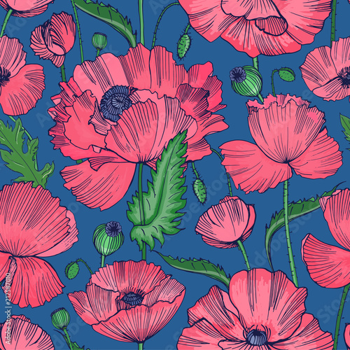 Natural Seamless Pattern With Beautiful Blooming Wild Poppy Flowers