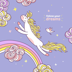 Follow your dream. Cute pony is jumping under a rainbow.