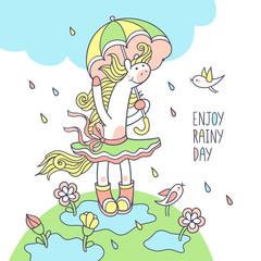 Enjoy rainy day. Cute pony character for kids season design.