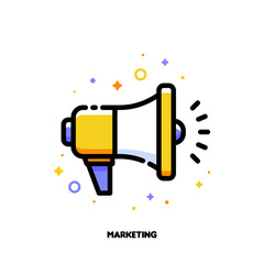 Digital media marketing business icon with megaphone. Flat filled outline style. Pixel perfect 64x64. Editable stroke