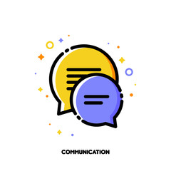 Social network communication concept. Icon with two speech bubbles of chat messages. Flat filled outline style. Pixel perfect 64x64. Editable stroke