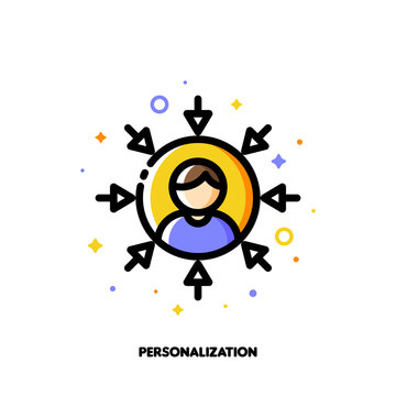 Personalization of social media marketing. Icon with abstract user avatar and arrows. Flat filled outline style. Pixel perfect 64x64. Editable stroke