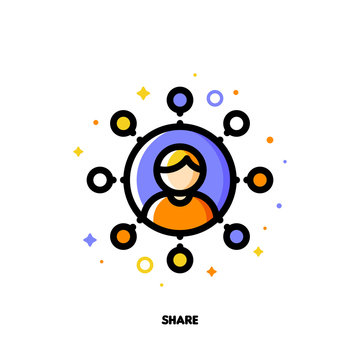 Global social media data sharing concept with icon of internet user who enjoy connect and share. Flat filled outline style icon. Pixel perfect 64x64. Editable stroke