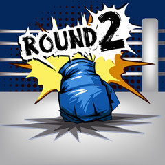 Punch boxing comic style and Blue corner with round:2
