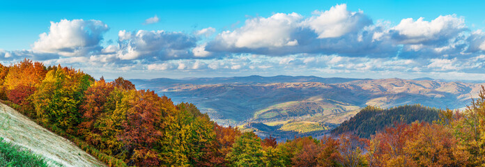 Panorama of colorful trees in the autumn mountains and blue cloudy sky.