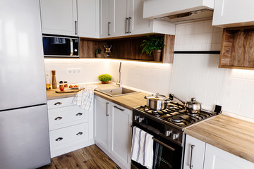Stylish kitchen interior with modern cabinets and stainless steel appliances in a luxury new house. kitchen design in scandinavian style. hardwood floor and wooden countertop, empty shelf