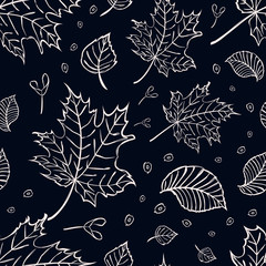 Vector seamless texture with elm, maple, birch leaves and seeds for fabric design.