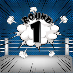 boxing ring corner with comic style blue Round1
