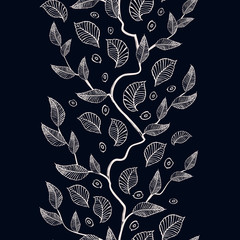 Vector vertical ornament with stylized tree branches for season design.