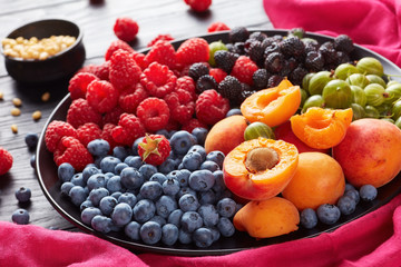 close-up of Fruit and berries salad