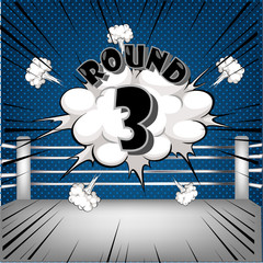 boxing ring corner with comic style blue Round3