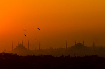Silhouette of Istanbul with Hagia Sophia and Blue Mosque