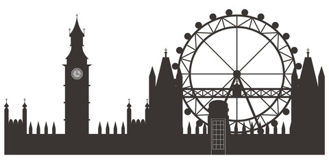 London skyline black silhouette. Vector cartoon flat illustration isolated on white background.
