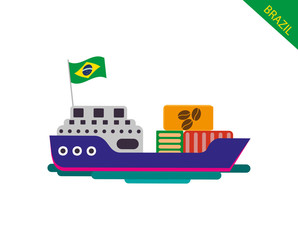 Cargo container ship transports containers at the blue ocean. Cargo transportation from Brazi