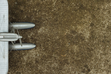 Scale model hydroairplane . Background. Copy space