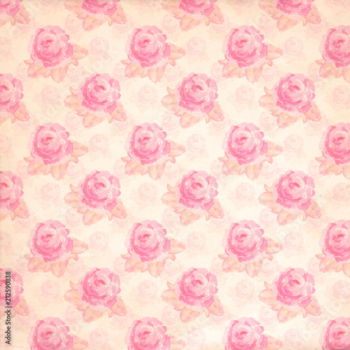Vintage Floral Paper Background Pink Roses Scrapbook