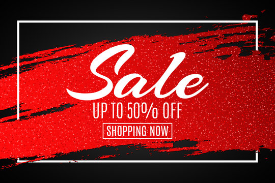 Web banner for sale. Red grunge line with glitters in frame. Black background. Big discounts. Special offer. Background for your project. Vector illustration