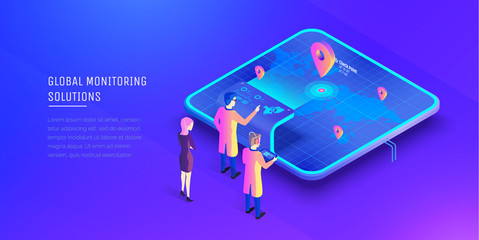 Global monitoring system. People at the control desk interact with global monitoring systems. Virtual world map. Modern vector illustration isometric style.