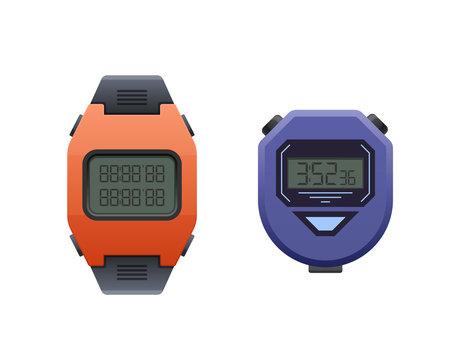 Beautiful modern digital wrist watch. Stopwatch and wrist sport watch.