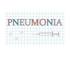 Pneumonia word on checkered paper sheet- vector illustration