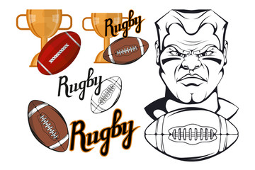 Set of Football player design elements. Hand drawn Rugby player. Cartoon soccer player. Set for football concept. Gold champions and winner cup. Cartoon Man Head. Rugby ball. Vector graphics to design
