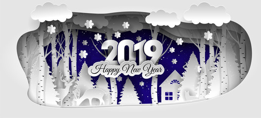 Creative happy new year 2019 design. Winter forest. Happy new year 2019 paper art and craft style.