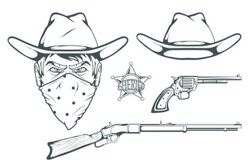 Cowboy Set for design. Hand drawn cowboy hat. Cartoon character man in the wild west. Retro Rifle and revolver. Sheriff's Badge. Western. Elements of the Wild West. Vector graphics to design
