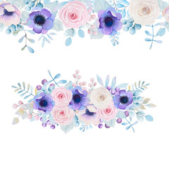Watercolor set with roses and anemones